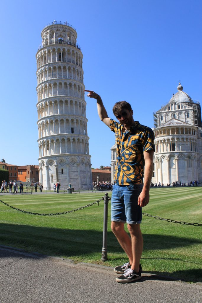 Me pushing over the leaning tower.