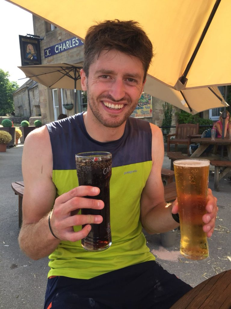 Well Deserved Pint After running the Dovedale Dipper Marathon